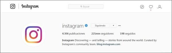 cuenta oficial instagram
