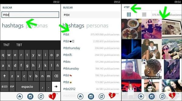 Búsqueda por hashtags o etiquetas