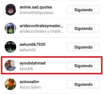 seleccionar seguidor
