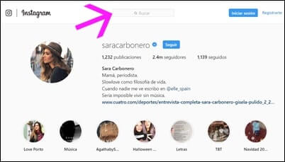 Buscar en version web Instagram