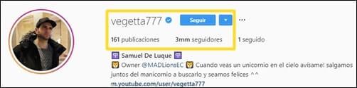 حساب موثّق Vegetta777